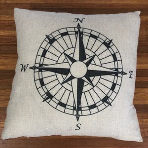 Other - Compass Rose Accent Pillow Feather Filled